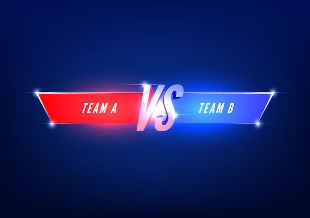 Versus modèle d'écran. vs titre de bataille, équipes rouges et bleues.