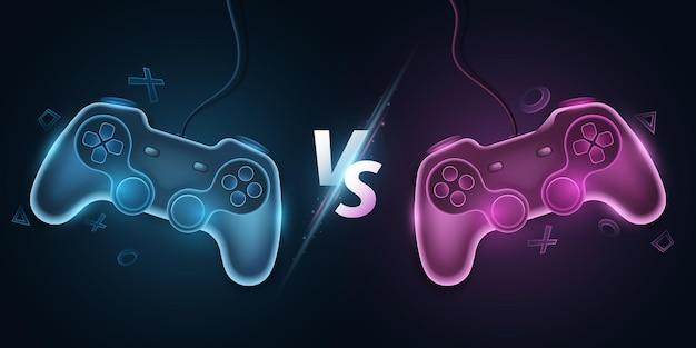 Versus modèle avec manettes de jeu modernes. écran vs pour jeux vidéo de sport, match, tournoi, compétitions e-sport. joystick pour console. conception de concept de jeu. illustration vectorielle. eps 10