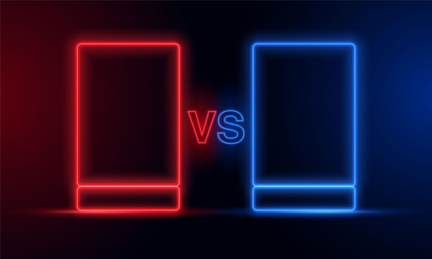 Versus red blue neon light frame.