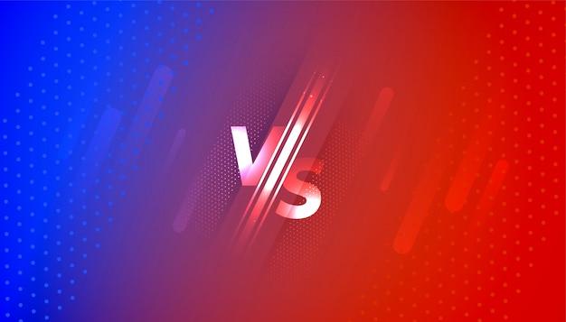 Versus vs bannière d'écran en dégradé rouge et bleu