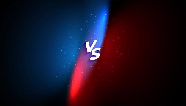 Versus vs bannière avec effet de lumière bleue et rouge