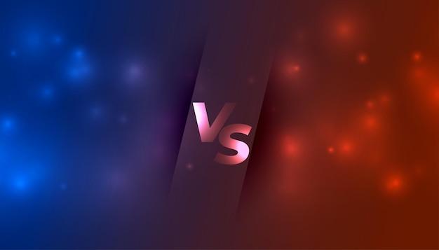 Versus vs bannière avec des étincelles lumineuses