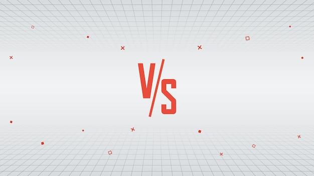 Versus vs design dans le style des années 80, fond monochrome minimal de lignes rétro avec des formes géométriques en mouvement