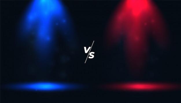 Versus vs fond avec des spots bleus et rouges