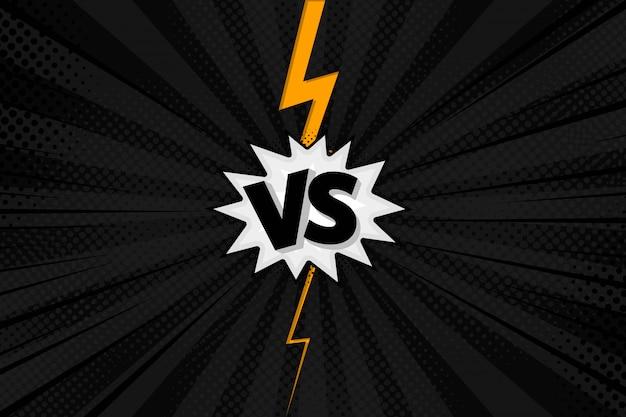 Versus vs lettres combattent les arrière-plans dans un style plat de bande dessinée avec demi-teintes