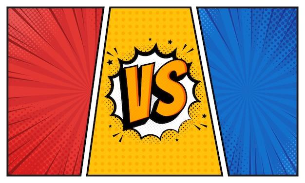 Versus vs lettres se bat dans un design de style bande dessinée plate avec demi-teintes