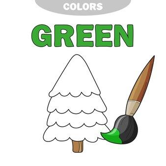 Vert. apprenez la couleur. ensemble d'éducation. illustration des couleurs primaires. illustration vectorielle - arbre - livre de coloriage