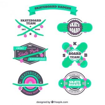 Vert badges de planche à roulettes