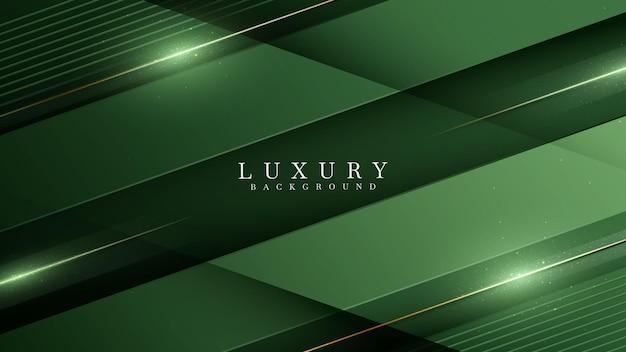 Vert sur nuance sombre avec des éléments de ligne dorés élégants. papier de fond de luxe réaliste coupé style 3d concept moderne. espace pour coller du texte. illustration vectorielle pour la conception.