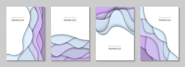 Vertical fond avec du papier coloré coupe les vagues
