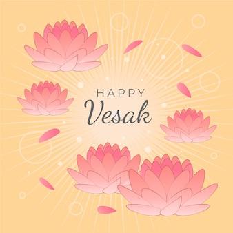 Vesak heureux avec des fleurs de lotus