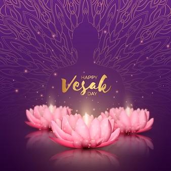 Vesak réaliste avec des fleurs et leur reflet