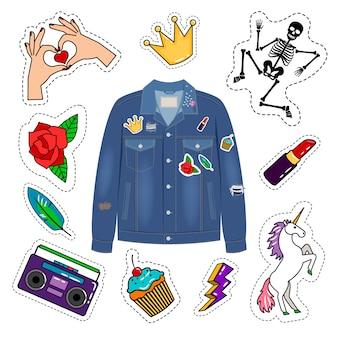 Veste en jean patchs