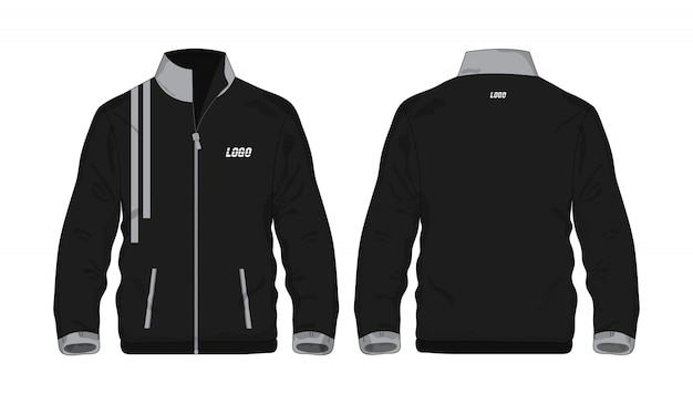 Veste de sport chemise modèle gris et noir pour la conception sur fond blanc. illustration vectorielle eps 10.