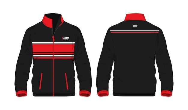 Veste de sport chemise modèle rouge et noir pour la conception sur fond blanc. illustration vectorielle.