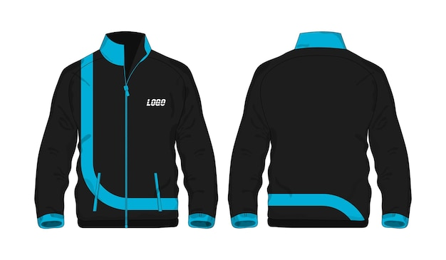 Veste de sport modèle bleu et noir pour la conception sur fond blanc. illustration vectorielle eps 10.