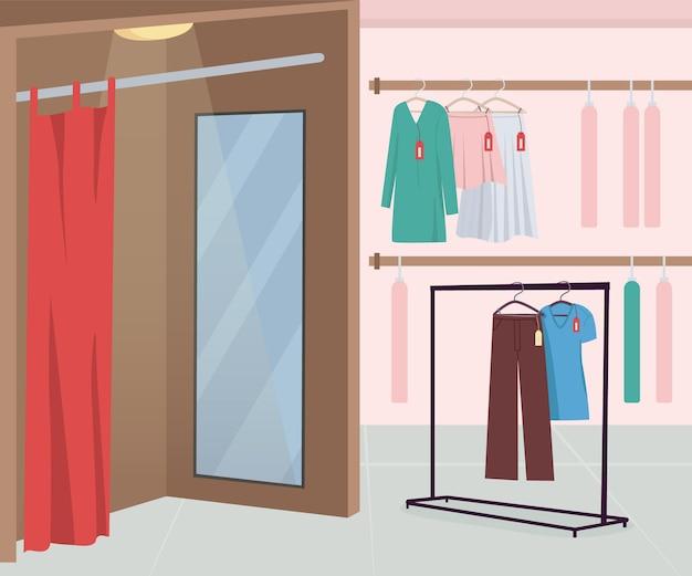 Vestiaire dans le magasin de vêtements illustration vectorielle de couleur plate. vêtements à acheter. textile à vendre. vente au détail et commerce. intérieur de dessin animé 2d de magasin de mode avec des cintres sur fond