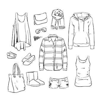 Vêtements et accessoires dessinés à la main