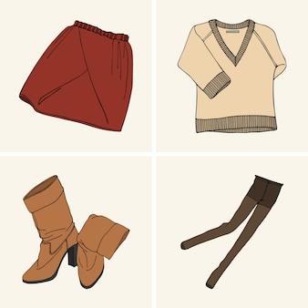 Vêtements et accessoires. set 3