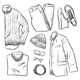 Vêtements et accessoires de vecteur dessinés à la main