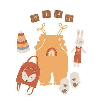 Vêtements bébé boho, jouets boho abstraits, joli jouet minimal pour les enfants