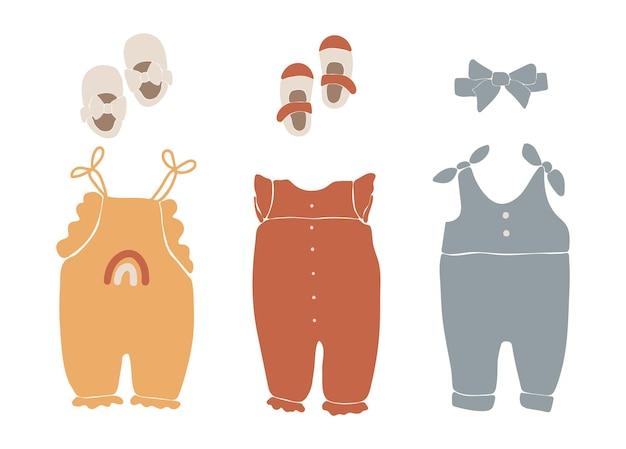 Vêtements bébé boho, vêtements boho abstrait, usure minimale mignonne pour enfants, vêtements, ensemble bébé, éléments abstraits pour enfants