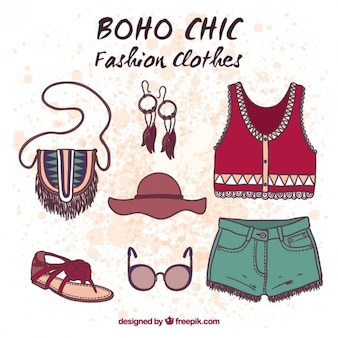 Vêtements boho dessinés à la main et collection d'accessoires