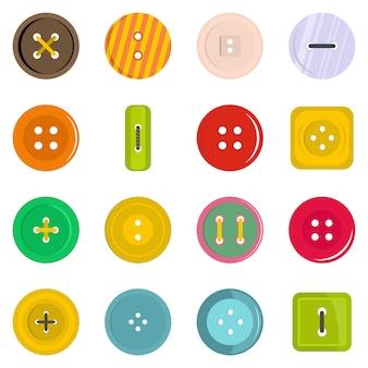 Vêtements bouton icônes définies dans un style plat