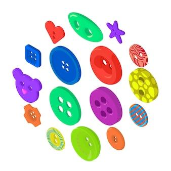 Vêtements bouton icônes définies, style isométrique
