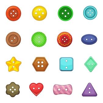 Vêtements bouton icônes définies