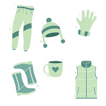 Vêtements chauds pour un hiver froid dessiné à la main