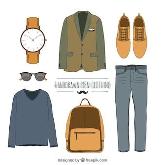 Vêtements dessinés à la main des hommes