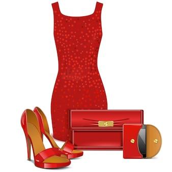 Vêtements féminins rouges isolés sur fond blanc