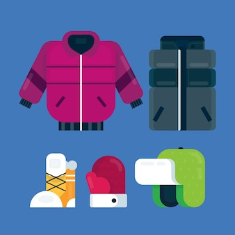Vêtements d'hiver design plat