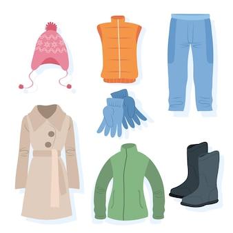 Vêtements d'hiver dessinés à la main isolés sur blanc