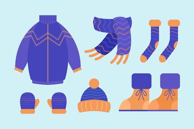 Vêtements d'hiver et l'essentiel design plat