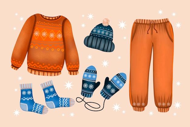 Vêtements d'hiver et essentiels aquarelle