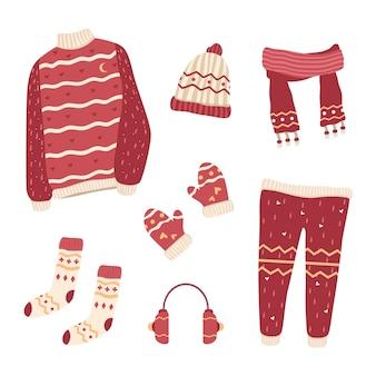 Vêtements d'hiver et essentiels au design plat