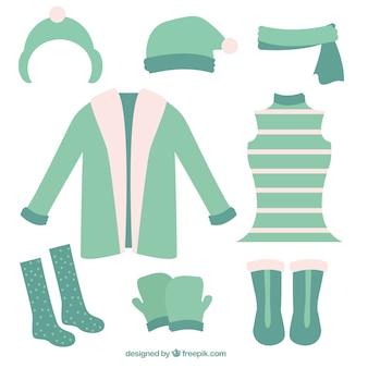 Vêtements D'hiver Mignon Fixés Vecteur gratuit
