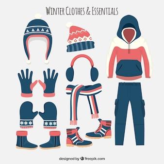 Vêtements d'hiver plat rouge et bleu