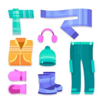 Vêtements d'hiver plats et essentiels
