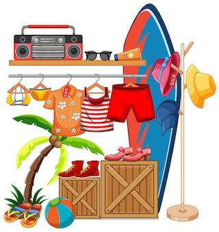 Vêtements isolés sur le thème de l'été d'affichage de rack