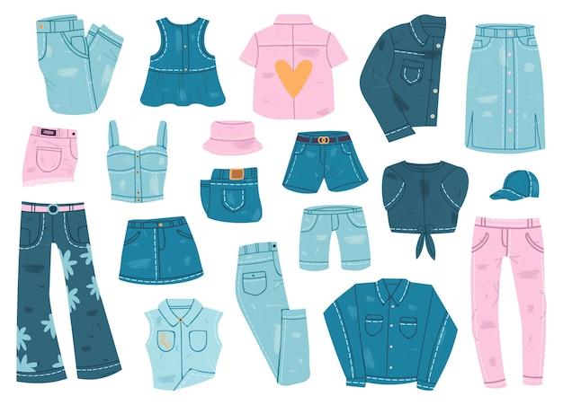 Vêtements en jean isolés sur blanc
