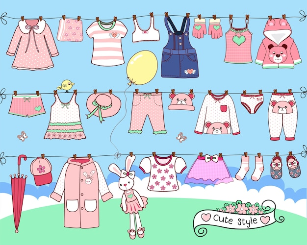 Vêtements mignons séchant sur la ligne de lavage