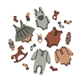 Vêtements de mode pour bébé dessin animé vêtements pour enfants nouveau-nés vector set d'illustration de pépinière