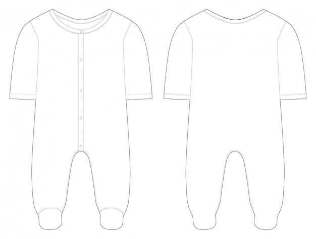 Vêtements de nuit pour bébés garçons et filles. dessin technique.