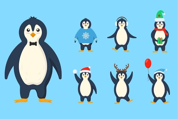 Vêtements de pingouins dans des petits personnages de dessins animés plats et mignons, ensemble d'animaux d'oiseaux antarctiques d'hiver froid
