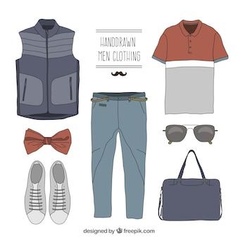 Vêtements pour hommes dans le style dessiné à la main