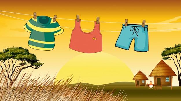 Vêtements suspendus dans le fil