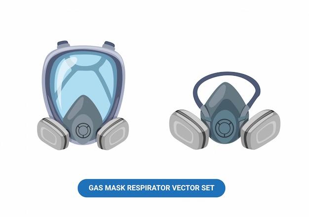 Vêtements de travail pour respirateur à gaz masker en plein visage et demi-visage ensemble illustration de dessin animé isolé sur fond blanc
